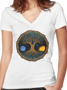 Astral Tree of Life Women's Fitted V-Neck T-Shirt