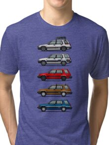 Stack Of Toyota Tercel Sr5 4wd Al25 Wagons Tri-blend T-Shirt
