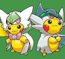 Mega Gardevoir & Mega Gallade Poncho Pikachu by Eat Sleep Poke Repeat