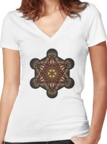 Metatron's Cube ~ Sacred Geometry Women's Fitted V-Neck T-Shirt