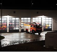Tolvaddon Fire Station at night by Deb Vincent