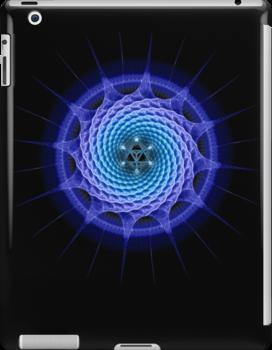 Merkaba Spiral Mandala Blue  ( Fractal Geometry ) by Leah McNeir