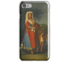 Pietro Fabris A LADY IN THE TRADITIONAL DRESS OF THE ISLAND OF ISCHIA TOGETHER WITH A BOY HOLDING A DONKEY IN A LANDSCAPE iPhone Case/Skin