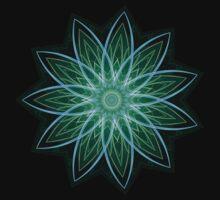 Fractal Flower - Green . One Piece - Short Sleeve