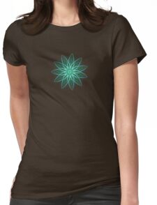 Fractal Flower - Green . Womens Fitted T-Shirt