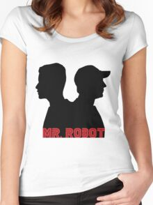 Mr. Robot silhouettes Women's Fitted Scoop T-Shirt
