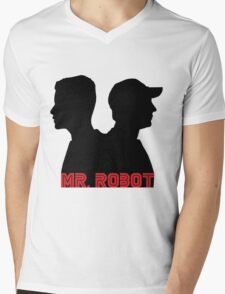 Mr. Robot silhouettes Mens V-Neck T-Shirt