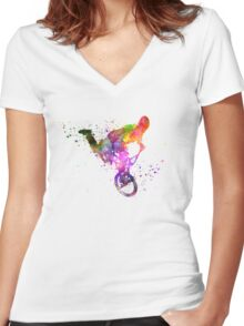 man exercising bmx acrobatic figure Women's Fitted V-Neck T-Shirt