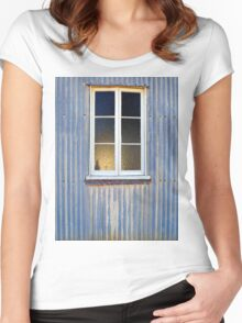 Window in a Corrugated Iron Wall Women's Fitted Scoop T-Shirt