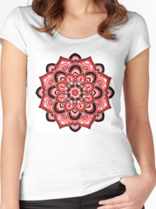 Red watercolor mandala Women's Fitted Scoop T-Shirt