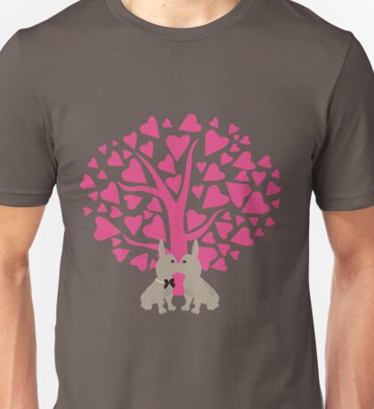 Kissing French Bulldogs! Cute Valentines Day Design Unisex T-Shirt
