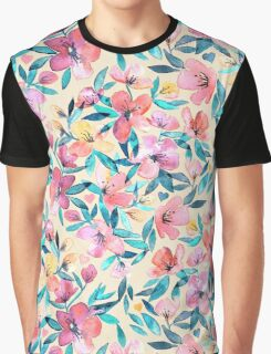 Peach Spring Floral in Watercolors Graphic T-Shirt