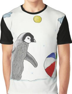 Little Penguin Found Colorful Ball Graphic T-Shirt