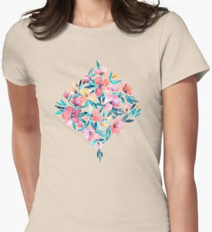 Peach Spring Floral in Watercolors Womens Fitted T-Shirt