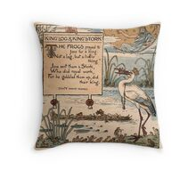 Vintage Walter Crane: King log and king stork  Throw Pillow