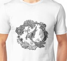 Wreath with flowers and bird.  Unisex T-Shirt