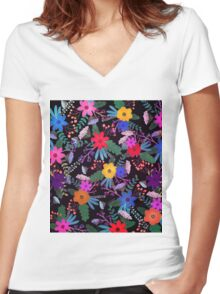 Floral 3 Women's Fitted V-Neck T-Shirt