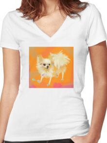 Dog Chihuahua Orange Women's Fitted V-Neck T-Shirt