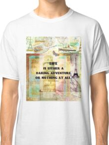 Travel quote adventure with retro vintage map art Classic T-Shirt