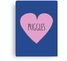 Puggle love Canvas Print