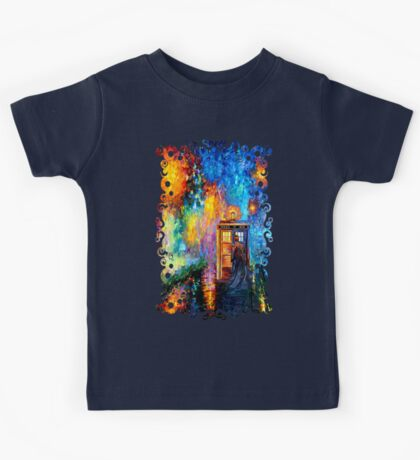 Time Traveller lost in the strange city art painting Kids Tee