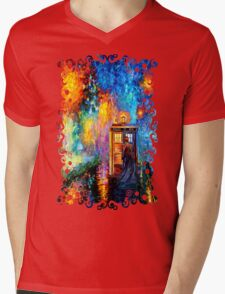 Time Traveller lost in the strange city art painting Mens V-Neck T-Shirt