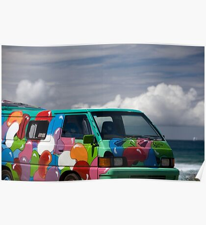 Colourful Transport Hippie Bus Poster