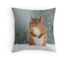 Red Squirrel in the Snow Throw Pillow