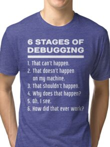 Six Stages of Debugging: White on Dark Design for Programmers Tri-blend T-Shirt