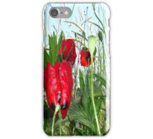 Landscape Close Up Poppies Against Morning Sky iPhone Case/Skin