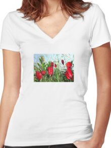 Landscape Close Up Poppies Against Morning Sky Women's Fitted V-Neck T-Shirt