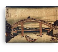 Below Mannen Bridge At Fukagawa - Hokusai Katsushika - 1831 - woodcut Canvas Print