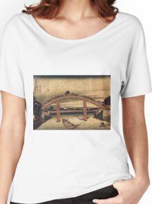 Below Mannen Bridge At Fukagawa - Hokusai Katsushika - 1831 - woodcut Women's Relaxed Fit T-Shirt