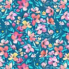 Teal Summer Floral in Watercolors by micklyn