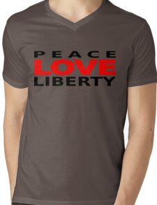 Peace Love Liberty Mens V-Neck T-Shirt