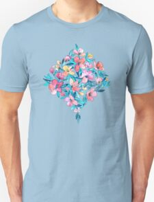 Teal Summer Floral in Watercolors T-Shirt
