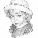 girl in straw hat drawing by Mike Theuer