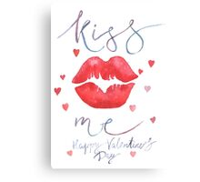 Watercolor lettering Valentine card Canvas Print