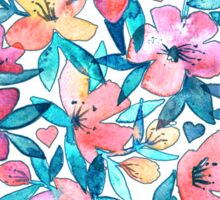 Teal Summer Floral in Watercolors Sticker