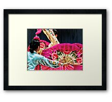 Traditional Korean Fan Dance Framed Print