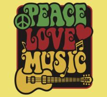 Peace, Love, Music in Rasta Colors One Piece - Short Sleeve