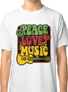 Peace, Love, Music in Rasta Colors Classic T-Shirt