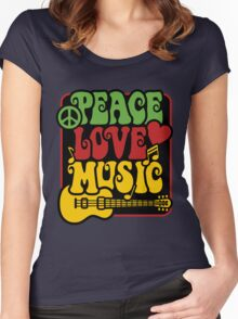 Peace, Love, Music in Rasta Colors Women's Fitted Scoop T-Shirt
