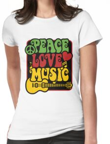 Peace, Love, Music in Rasta Colors Womens Fitted T-Shirt
