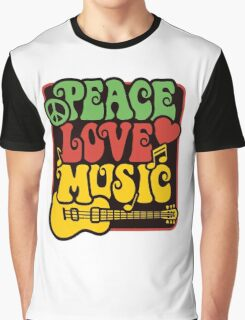 Peace, Love, Music in Rasta Colors Graphic T-Shirt