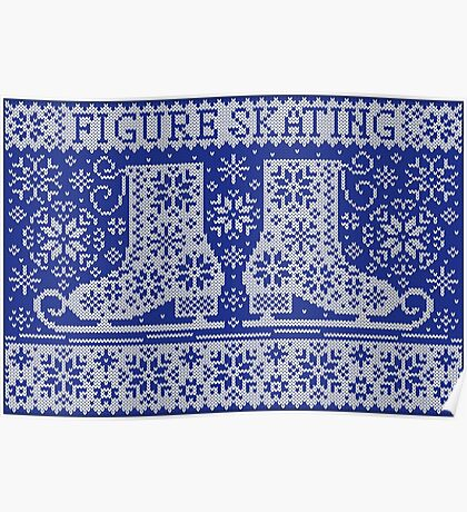 Knitted jacquard pattern figure skating Poster