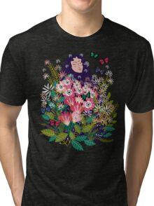 Floral Dream in Green Tri-blend T-Shirt