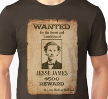 Jesse James Wanted Poster Unisex T-Shirt
