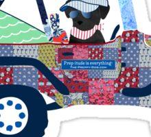 Preppy Jeep Black Lab Puppy - Beach Vacation Sticker