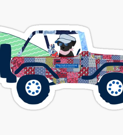 Preppy Jeep Black Lab Puppy - Beach Vacation Sticker